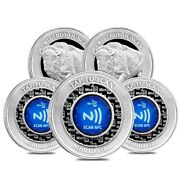 Lot Of 5 - 2 Oz Mintid Buffalo Silver Round .999+ Fine Nfc Scan Authentication