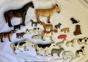 25 Vintage Mixed Lot Of Farm Animals/dogs Rubber Hard Plastic 1960's/ 80's