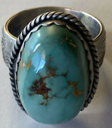 Signed Navajo Sterling Silver Pilot Mountain Turquoise Ring Size 8/9 Adjustable