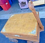 Vtg Wooden Primative Style Cart Wheelsandnbsptable Barn Hand Painted Rare Pickup Only