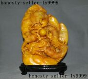 15old Chinese Shoushan Stone Carving Feng Shui Auspicious Dragon Phoenix Statue