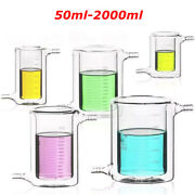 Lab Jacketed Glass Beaker Double Layer For Photocatalytic Experiment 50ml-2000ml