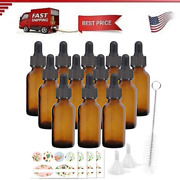 12 Pack 60 Ml 2 Oz Amber Glass Bottles With Glass Droppers And Black Cap.glass