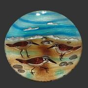 Vintage Jaco Of America 8'' Hand Painted Sandpiper Fuses Glass Plate Set 4 Birds