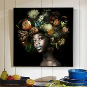 Black Woman With Flowers On Head Oil Paintings Print On Canvas Art Posters