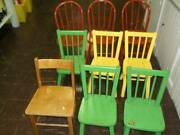 9 Antique Wooden Child Size Chairs