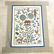 Primitive Folk-art Fabric Panel Quilt Top Unfinished Crib Wall Hanging Trees Dog