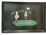 Couroc Of Monterey Serving Tray Inlaid Mineral Metals Golfer Putting Vintage Mcm