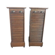 Antique French Oak Office File Cabinets Matching Pair 1920and039s