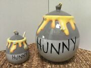 Disney Winnie The Pooh Hunny Cookie Jar And Honey Pot And Stick With Bees And Leads