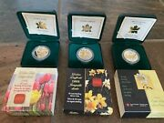 2002 2003 2004 Canadian Mint 50 Cent Sterling Silver Coin Golden Daffodil Lot