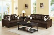 Sofa And Loveseat Espresso Faux Leather 2pcs Set Living Room Couch Tufted Sofa