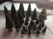 Lot 23 Dept 56 Snow Village Frosted Topiary Sisal Trees 2 - 8 Wood Ceramic Guc