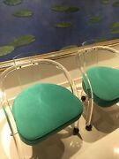 Pair Midcentury Lucite Charles Hollis Style Waterfall Chairs Turquoise
