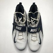 Nike Air Zoom Boss Shark 3/4 Cleats White Navy Blue Menandrsquos Size 16 308392-101
