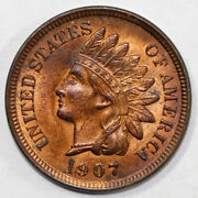 1907 1c Indian Head Cent Full Red