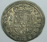1717 Madrid 2 Real Philip V High Grade Spanish Silver Colonial Era Antique Coin