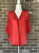 Small Charlotte Russe Sheer Top Quarter Sleeve And Button Accents