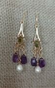 Vtg Antique Suffragette Natural Pearl Amethyst Peridot Solid Gold Drop Earrings