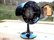 Vintage Alarm Mantel Black Wind-up Space Clock Rhythm Made In Japan 70and039s Wow