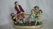 Meissen Porcelain Group 3 Girls And Old Man And Boy Pulling Rope Playing Tug Of War