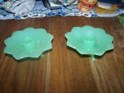 Pair Of Jadeite Candle Holders - Unmarked