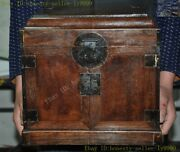 China Dynasty Grimace Huanghuali Wood Carved Treasure Chest Jewelry Storage Box