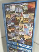 Eurographics Lighthouses Vintage Posters 1000 Piece Complete Jigsaw Puzzle