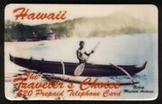 20. Hawaii 'traveler's Choice' Outrigger Boat Thick Font Reverse Phone Card