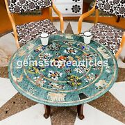Marble Green Round Dining Table Top Multi Stone Fruit Bowl Art Dining Room Décor
