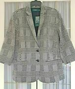 Lauren Womenand039s Houndstooth Jacket Black And White Plus Size-size 22w