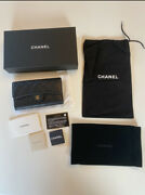 Authentic Black Caviar Leather Classic Wallet Purse Gold Hardware