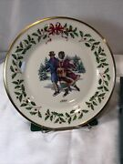 1998 Lenox Annual Collector Plateandrdquoholiday Skatersandrdquo 8th In Series 10.5andrdquod Numbered
