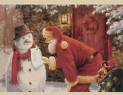 Father Christmas And Snowman Counted Cross Stitch Complete Kit 4-247