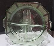 Green Depression Glass Princess 10 3/4 Divided Grill Plate