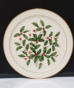 Lenox Usa Holiday Large Holly Leaf Round Platter Cake Chop Plate 12-3/4 Mint