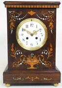 Antique Rosewood Cased Mantel Clock Multi Wood And Pearl Inlay 8–day Striking 1900