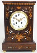 Antique Rosewood Cased Mantel Clock Multi Wood And Pearl Inlay 8andndashday Striking 1900