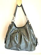 Coach Madison Mia Maggie Gray Taupe Patent Leather Shoulder Bag Purse 15734