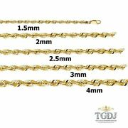 1.5mm-4mm 14k Solid Yellow Gold Women/ Menand039s Rope Light Chain Necklace 8-26