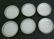 6 Corelle Corning Classic Cafe Black Striped Bowls 6 1/4 Coupe Soup Cereal