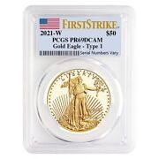 2021-w 1 Oz 50 Proof Gold American Eagle Pcgs Pf 69 Dcam First Strike