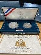 1992 P-s Columbus Silver Dollar And 50 Cents 2 Coin Proof Set Complete As Issued