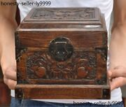 China Boxwood Wood Carving Auspicious Wealth Coin Bat Storage Box Jewelry Boxes