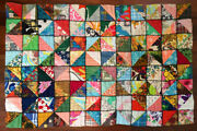 Vintage Crazy Quilt Hand Stitched Patchwork Triangles Heirloom Boho 1970s 1960s