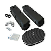 For Small Block 5.0l Aluminum Valve Covers Smooth Black And 12x2 Oval Air Filter