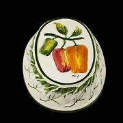 Vintage Peppers Hanging Wall Plate Plaque 3d Raised Green Red Yellow Made Italy
