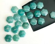 Natural Amazonite Hexagon Shape Checker Cut Loose Gemstone Size 16mm To 20mm