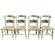Set Of Four Hitchcock Hand Painted Limited Edition Rush Seat Side Chairs Holiday
