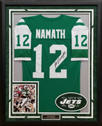 Joe Namath Autographed Hand Signed And Custom Framed New York Jets Jersey - Jsa